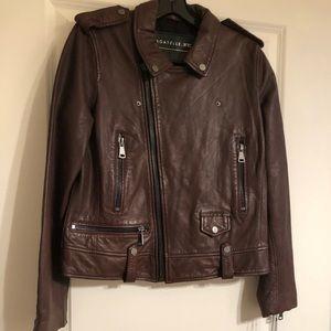NWT Bagatelle brown genuine leather motor jacket